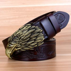 ceinture-biker-aigle-tete-bronze-ceinture-noire